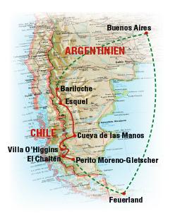 Patagonien Overland Reiseroute
