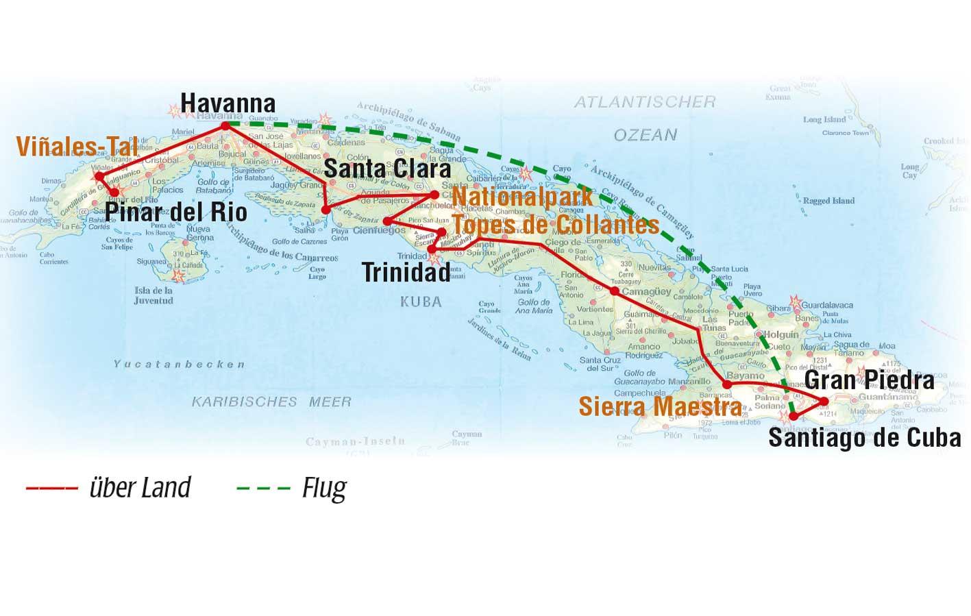 Reiseroute Rundreise, Kuba