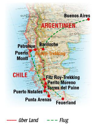 patagonien-feuerland-trekking_reiseroute