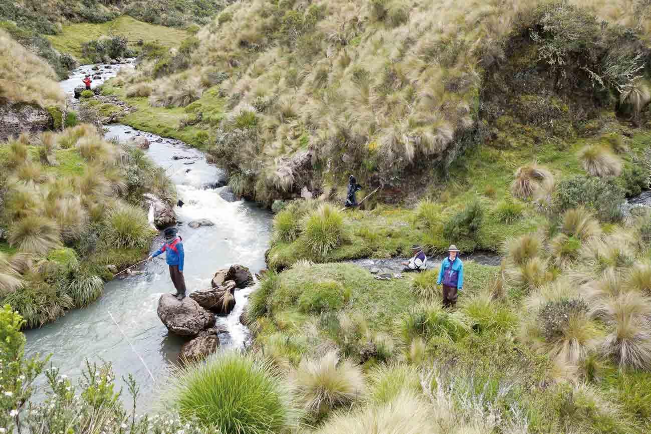 Die vielen Flüsse auf Yanahurco laden zum Fischen ein.