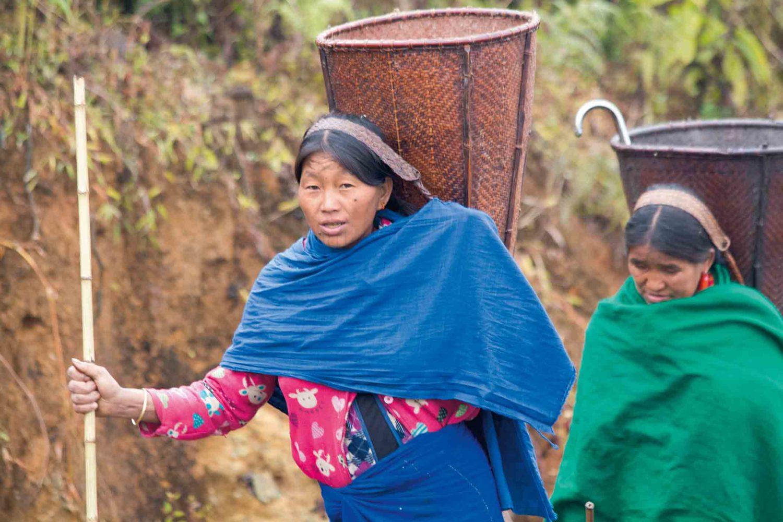 Naga-Frau beim Holzsammeln, Myanmar