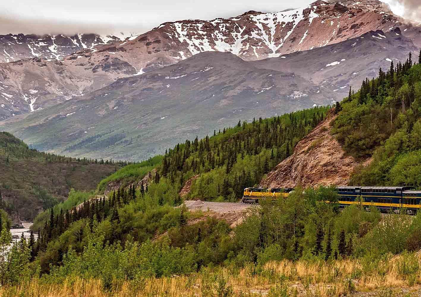 Zugfahrt durch die spektakuläre Landschaft von Alaska