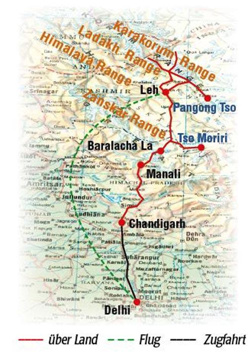 Ladakh Kultur und Abenteuer, Reiseroute