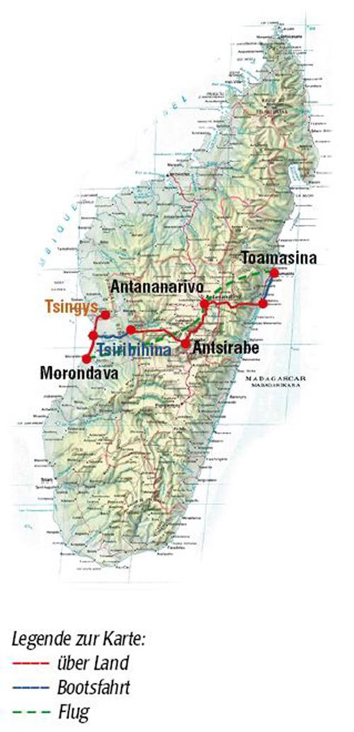 Reiseroute Madagaskar