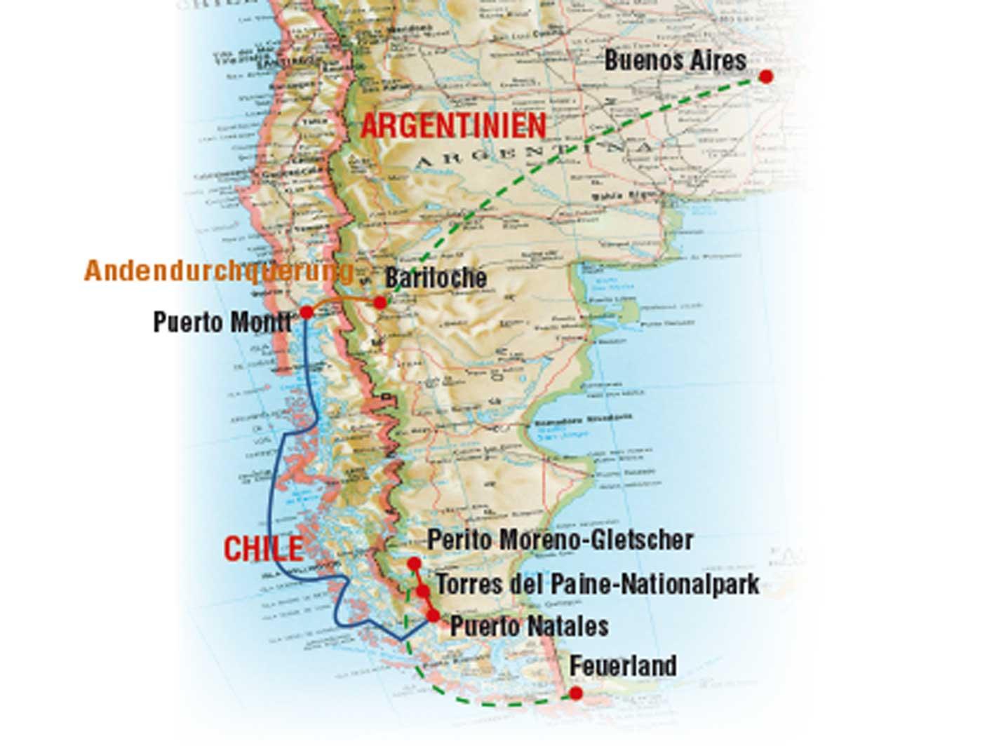 Patagonien Schifffahrten, Reiseroute