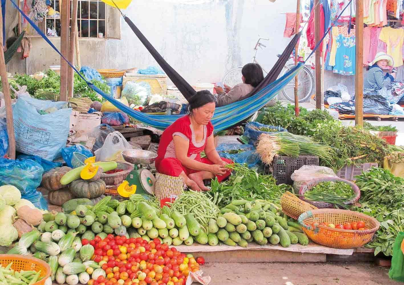 Wir besuchen bunte Märkte in Vietnam.