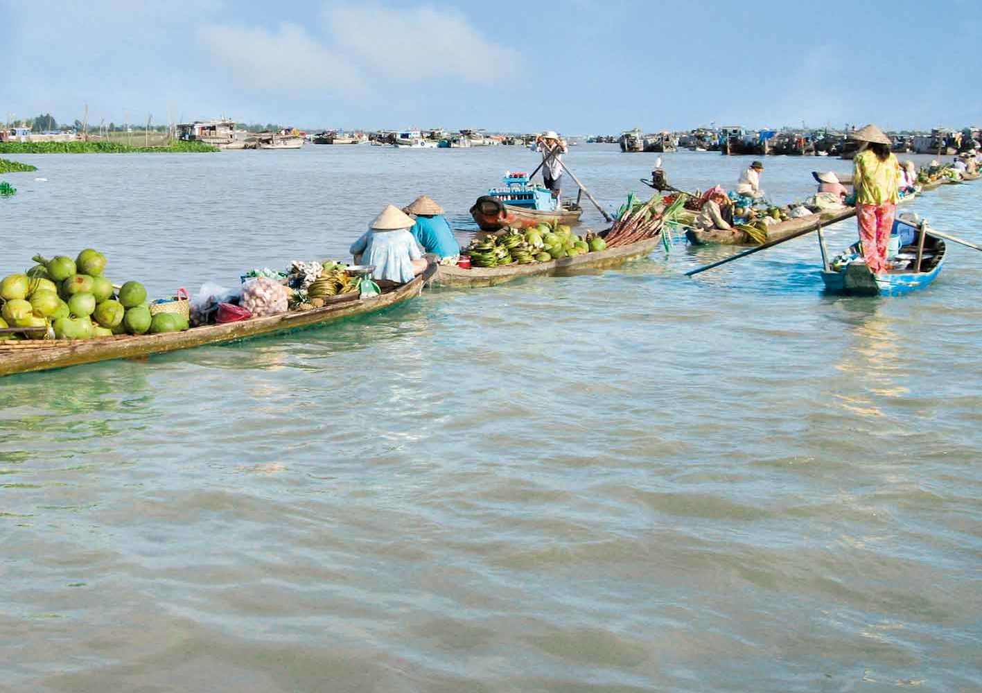 Flussmarkt auf dem Mekong, Vietnam