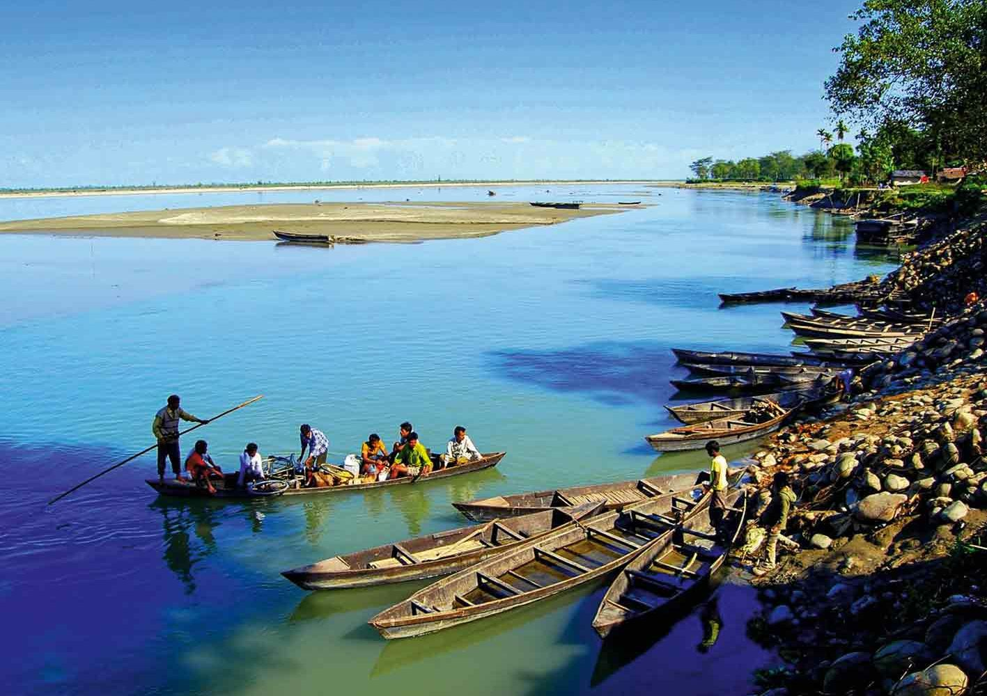 Flusslandschaft am Brahmaputra, Assam